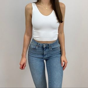 White Ribbed Knit Crop Top